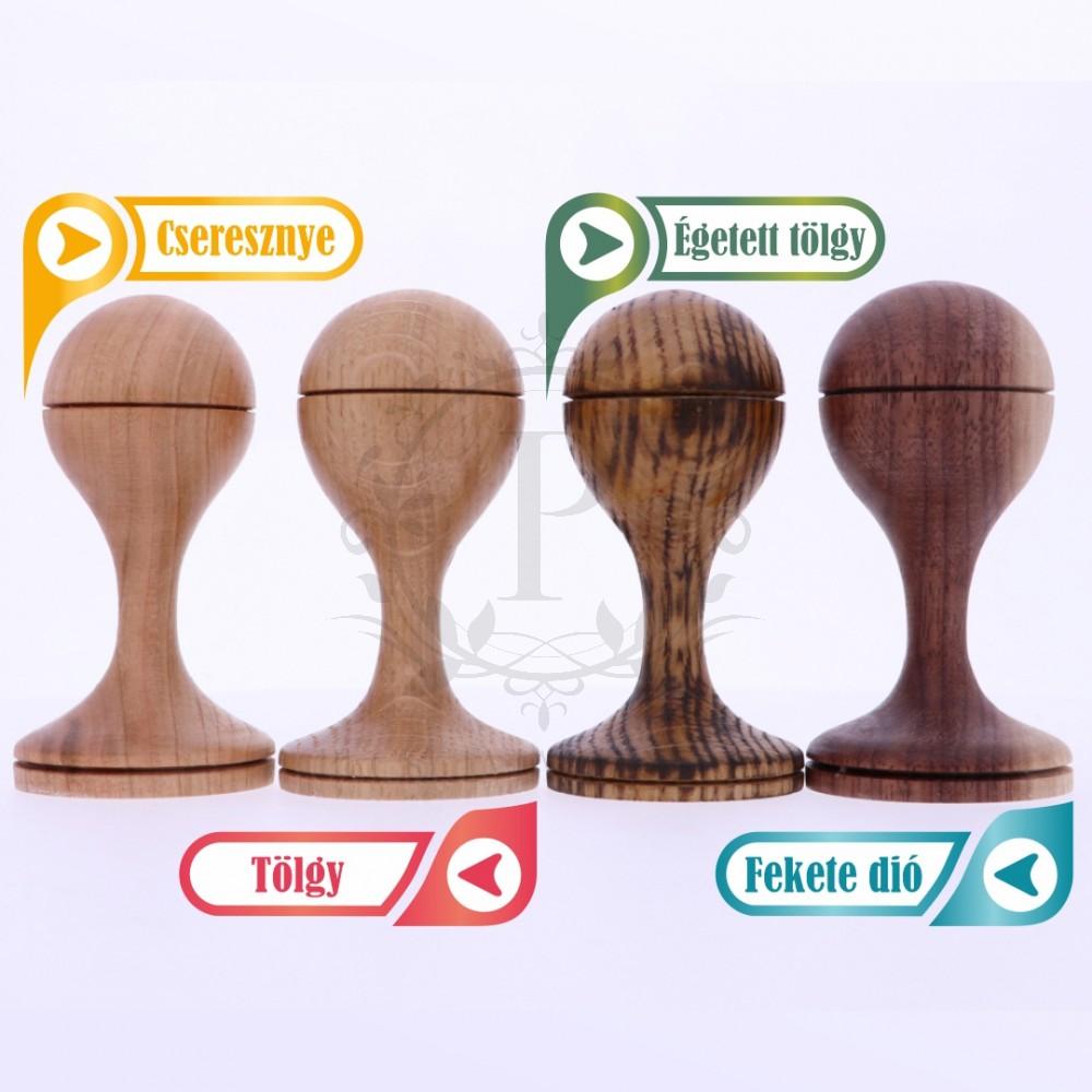 6 cm-es egyedi gumibélyegző készítése fa nyéllel - kör alakú