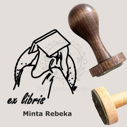 Ex libris gumibélyegző nemesfa nyéllel - kör alakú - Olvasó fején könyv mintával