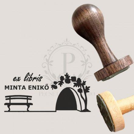 Ex libris gumibélyegző nemesfa nyéllel - téglalap alakú - Pad és fa mintával