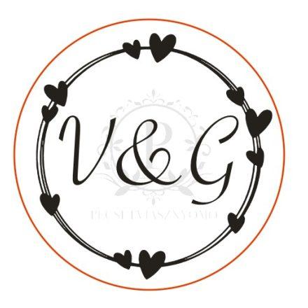 A Ti monogramotok, választható betűtípussal, SZIVEK KÖRÖN mintával - Esküvői pecsétviasznyomó