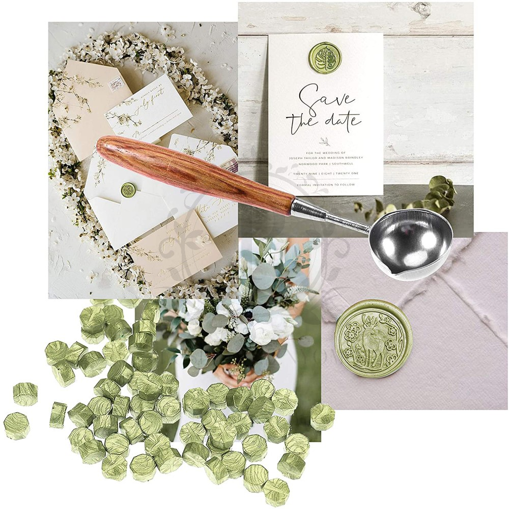 Pecsétviasz gyöngyök oliva zöld színben  – 230 db / csomag